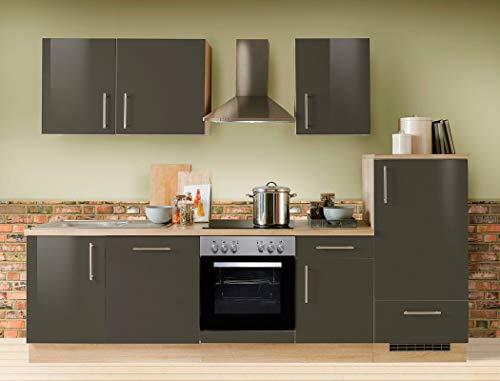 expendio Küchenzeile Unico 280 cm Lava Hochglanz mit Geschirrspüler E-Geräte Küchenblock Einbauküche Komplett-Küche Dekor Sonoma Eiche