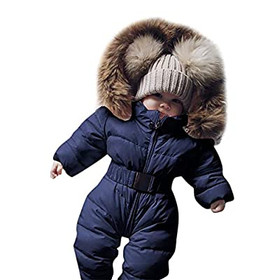 Newborn Infant Baby Boys Girls Warm Thick Romper Winter Clothes 0-24 Months,Toddler Hooded Jumpsuit Overcoat (0-3 Months, Blue)