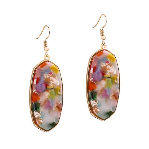 XOCARTIGE Dangle Earrings for Women Mottled Resin Acrylic Earrings Rhombus Drop Hook...