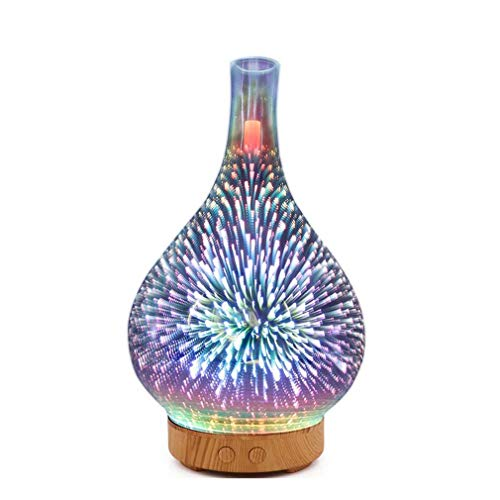 WEQQ 3D-001 Mini LED Luftreiniger 1000ML Ultraschall Luftbefeuchter Feuerwerk Design (clearEU)