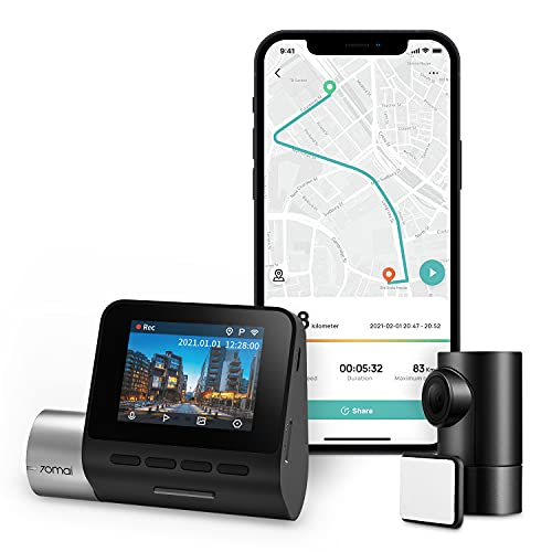 70mai Dash Cam Pro Plus+ A500S, Front and Rear, 1944P Ultra Full HD, 1080P, Built in WiFi GPS Smart Dash Camera for Cars, ADAS, Sony IMX335, 2