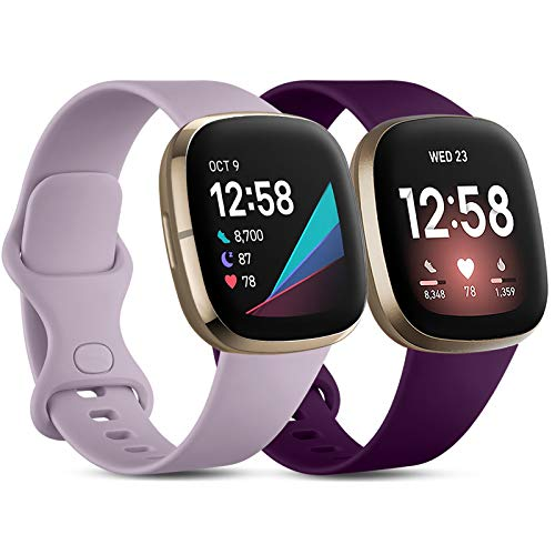 CeMiKa Compatibile con Fitbit Versa 3 Cinturino/Fitbit Sense Cinturino, Morbido Sportivo di Ricambio Cinturini Compatibile con Fitbit Versa 3/Sense, Piccolo Lavanda/Prugna