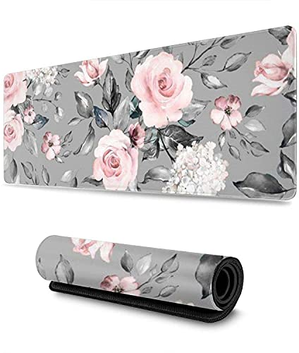 Floral Flowers Gaming Mouse Pad XL,Extended Large Mouse Mat Desk Pad, Stitched Edges Mousepad,Long Non-Slip Rubber Base Mice Pad,11.8x31.5 in