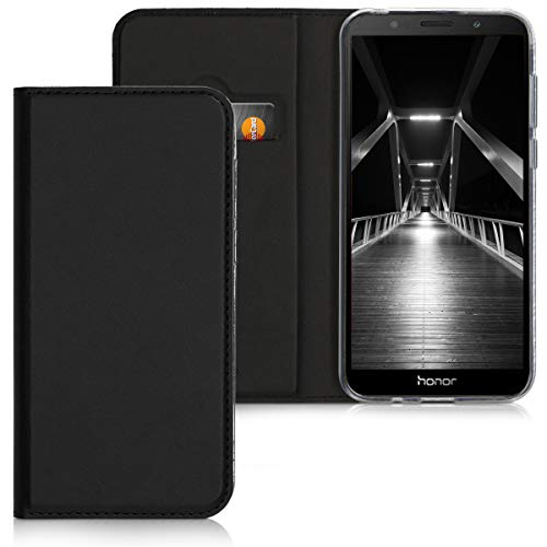 kwmobile Huawei Honor 7S Hülle - Kunstleder Handy Schutzhülle - Flip Cover Case für Huawei Honor 7S - Schwarz