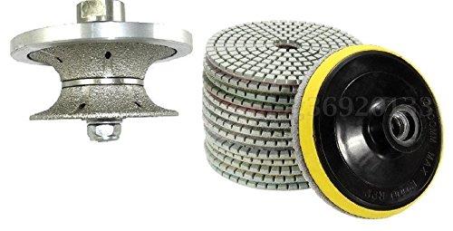 V30 1 1/4 Inch 30mm Full Bullnose Diamond Hand Profiler/Granite Router Bits Diamond Polishing Pads 4' inch Wet/Dry Set of 11+1 Granite Concrete Priority Shipping Marble Counter top Travertine Glass
