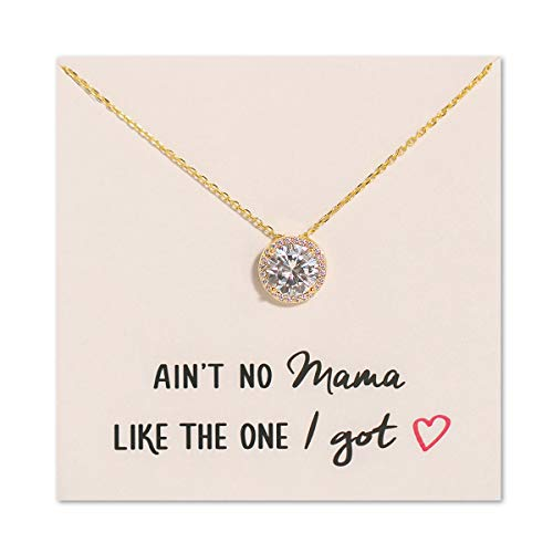 A+O Mom Gift, Fun Gift for Mother - Solitaire Halo Necklace...