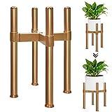Soporte para plantas, soporte ajustable para macetas para interior y exterior, soporte para macetas, soporte multifuncional para jardín, balcón, salón (34 cm de alto), color dorado