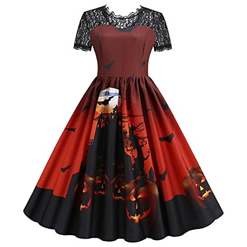 GBEN Damen 1950er Cocktailkleider Vintage Rockabilly Halloween Retro Abendkleider Eine Linie Kürbis Swing Dress Party Kleider Karneval Cosplay...