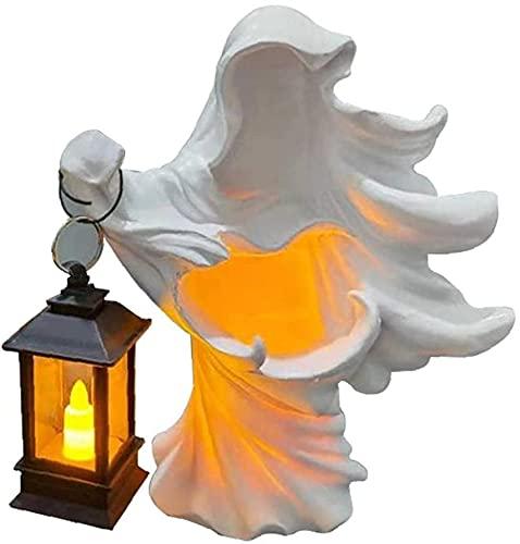 wangYUEQ Decoraciones for el hogar de Halloween y Resina de Halloween Sculpture Ghost Fantasma Fantasma Decoración con Linterna Solar Blanco (Color : Style03)