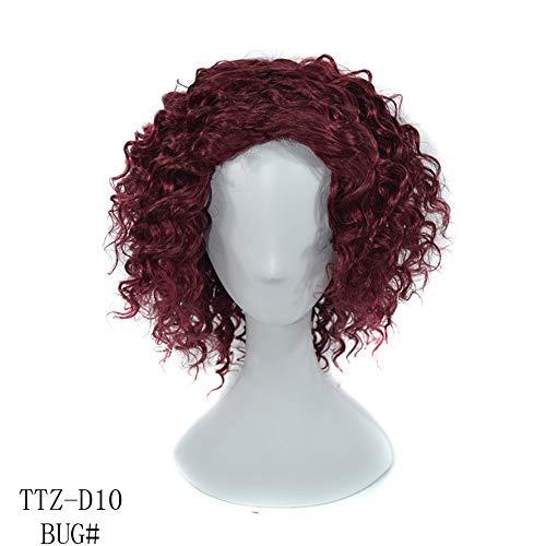 Dingziyue 16 Inch Wijn Rood Korte Afro Diepe Krullend Menselijk Haar Pruiken met Een Gratis Haarnetje voor Vrouwen (Natuurlijke Krullen) 16 inch Wijn Rood