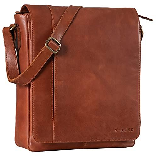 STILORD 'Paul' Umhängetasche Herren Leder Hochformat Messenger Bag im Vintage Design Ledertasche für 13,3 Zoll MacBook iPad DIN A4 Herrentasche Echtleder, Farbe:vegetabil - Brandy