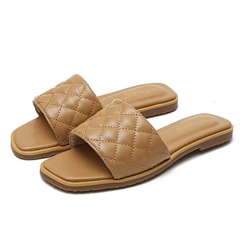 CYBLING Women's Quilted Slip-on Slide Sandals Summer Open Toe Single Band Non-Slip Flat Slippers