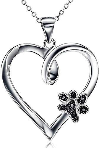 ZHIFUBA Co.,Ltd Collar Mujer S Collares Joyería S925 Joyería de Plata Garra de Perro con Incrustaciones en Forma de corazón Collares Pendientes Mujeres S Regalo de la joyería
