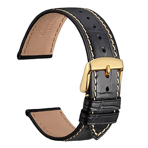 WOCCI 22mm Cinturino per Orologio in Pelle per Uomo e Donna, Alligatore Goffrato, Fibbia Oro (Nero Con Punto Beige)
