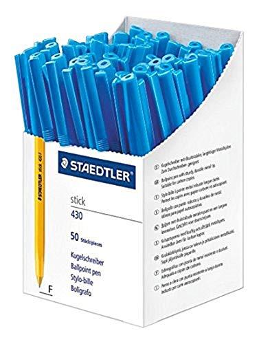 Staedtler Stick 430 F-3CP5 - Bolígrafo de punta fina (50 unidades), color azul