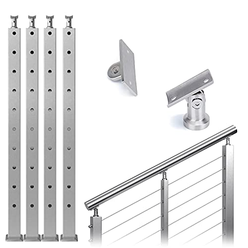 """Muzata 4Pack Cable Railing Post Stair Square Weldless 36""""x2""""x2"""" Stainless Steel Brushed Pre-Drilled 30 Degree Angle Holes Post PS01 LA4S, PT1 PT2 PT6"""