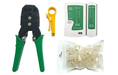 Toomett Comprobador de cables 4 en 1 + alicate engarzado + pelacables + 100 conectores RJ45 RJ11 4P kits de herramientas de red #81227