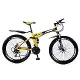 MUYU 26 Pulgadas Bicicleta De Montaña Velocidad 21(Velocidad 24, Velocidad 27) Deportes Plegables Bikes Montaña Plegable De Aluminio Doble Freno Disco,Amarillo,21 Speed
