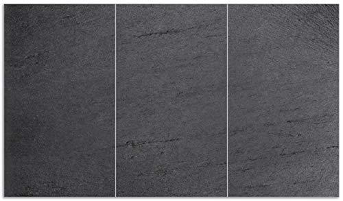 Wallario Herdabdeckplatte/Spritzschutz aus Glas, 3-teilig, 90x52cm, für Ceran- und Induktionsherde, Schwarze Schiefertafel Optik – Steintafel