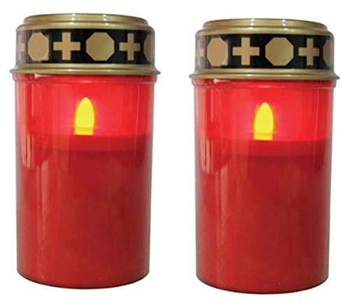 Fachhandel Plus LED-Grablichter 2er Set mit Flackereffekt wie bei Einer echten Kerze