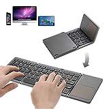 Teclado Bluetooth plegable, teclado inalámbrico flexible, tamaño de bolsillo, mini teclado recargable para dispositivos iOS/Android/Windows, tabletas, smartphones (gris oscuro)