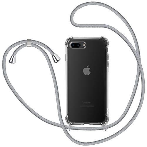 Funda con Cuerda para iPhone 7 Plus / 8 Plus, Carcasa Transparente TPU Suave Silicona Case con Correa Colgante Ajustable Collar Correa de Cuello Cadena Cordón para iPhone 7 Plus / 8 Plus - Gris