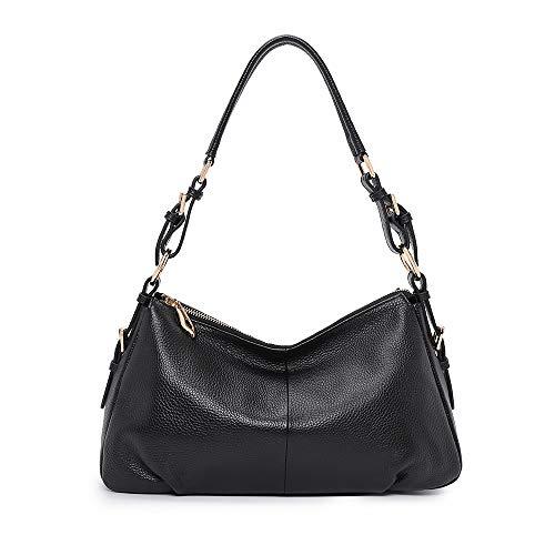 Kattee, borsa Hobo in morbida pelle per le donne, vera maniglia superiore vintage borse a tracolla, nero (Cruz V2 Fresh Foam), Small