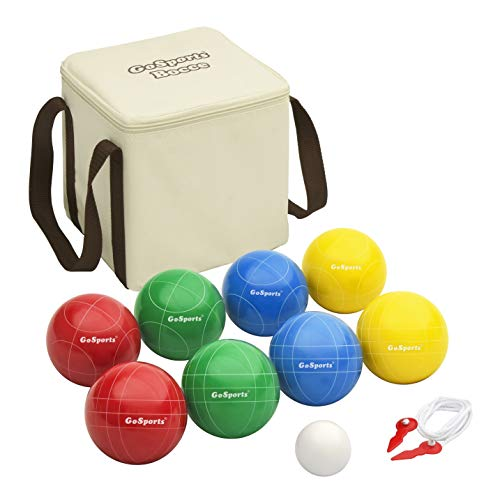 GoSports 90mm Backyard Bocce Set with 8 Balls, Pallino, Case and Measuring...
