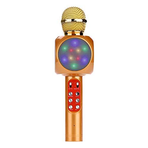 QIAO Karaoke microphone children Wireless bluetooth microphone with recording for adults and children, compatible with Android/IOS for party, podcast, family,Gold