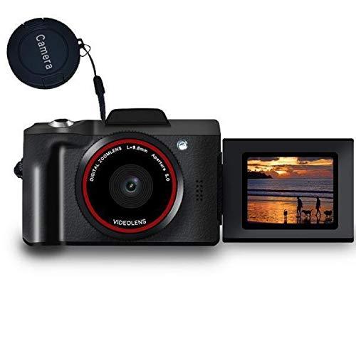lizeyu Cámara selfie de alta definición con pantalla abatible, mini cámara SLR, cámara de 16 millones de píxeles, cámara negra + tarjeta de memoria 32G