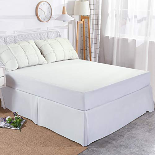 Edilly Hotel Luxury Bed Skirt Soft Microfiber 15-Inch Drop Wrinkle & Fade Resistant (White, King)