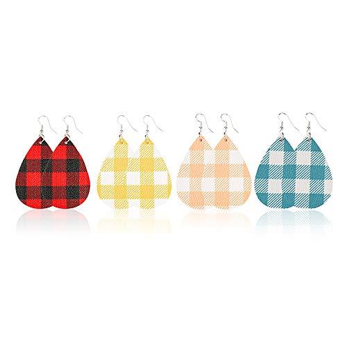 Jia Hu 4 Paar Ohrringe Beliebte PU Ohrringe Gitter Ohrringe Doppelseitig Netz Rot Gitter Leder Ohrringe