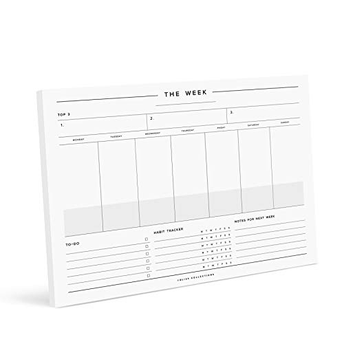 Bliss Collections Minimalist Weekly Planner Tear Off Pad, 50 Undated...