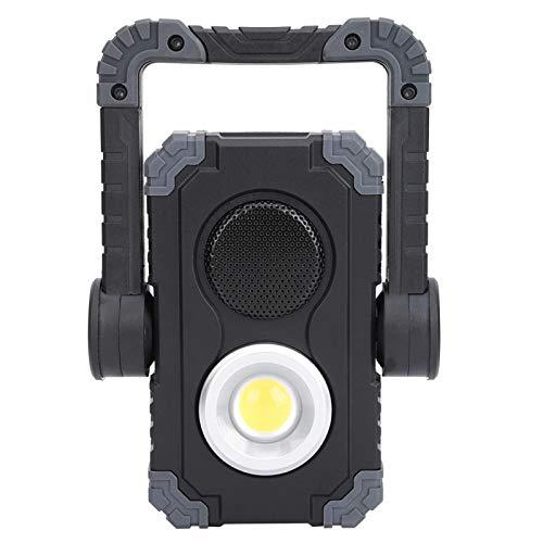 Lámpara LED, luz de trabajo COB portátil para exteriores, portátil, impermeable, recargable, ajustable, con altavoz Bluetooth, para uso en interiores, exteriores y emergencias