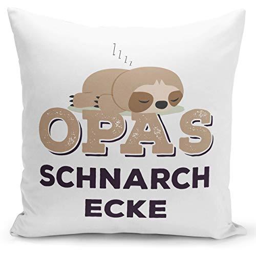 Tassenbrennerei Faultier Kissen mit Spruch Opas Schnarchecke - Geschenk für Opa, Großeltern