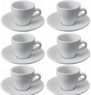Viva Haushaltswaren Tazas y Platillos de Pared Gruesa, Porcelana, Color Blanco, 6 Unidades