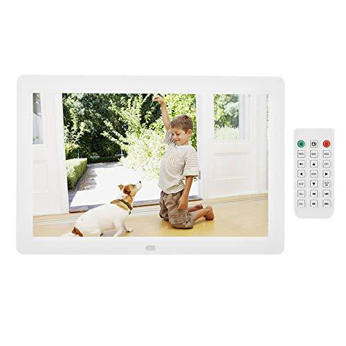 VBESTLIFE 12 Zoll Digitaler Bilderrahmen, Elektronische Bilderrahmen 1280 * 800 (16: 9) HD LED Bildschirm mit Wecker, Unterstützung für MPEG / MP4 / AVI/RMVB usw, Wunderbares Geschenk (Weiß)