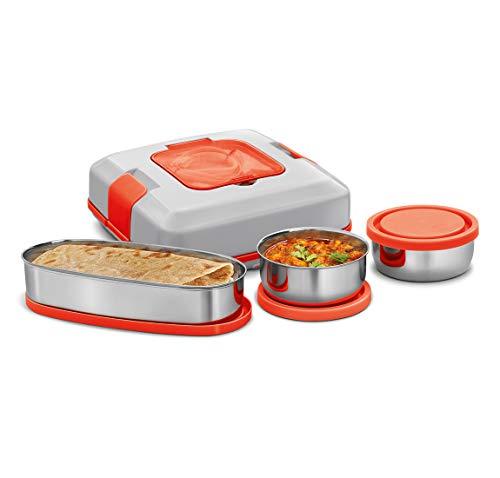 MILTON Flatron Plastic Electric Lunch Box Set of 3 (400ml x 1 & 200ml x 2, Multicolour)