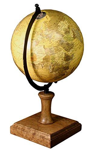 Globo terráqueo de estilo envejecido con soporte de madera