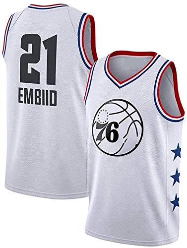 BMSGM Camisetas para Hombre-NBA Philadelphia 76Ers # 21 Joel Embiid Camiseta De Baloncesto Sin Mangas Camiseta Deportiva, Malla De Tela Transpirable,A,M(170~175CM/65~75KG)