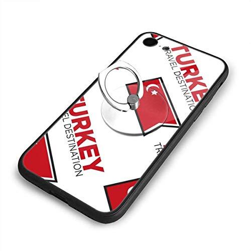 Gustave Tomlinson Türkische Flagge Türkei Reiseziel Handyhüllen für iPhone 7/8 Mobile Shell Rückseite TPU gehärteter Glasrahmen + Ring