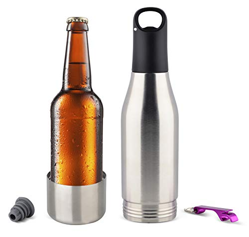 GlacierSteel Insulator Stainless Steel Beer Bottle Insulator-Beer Cooler-Beer Bottle Holder with Neoprene Lining, Bottle Opener and Silicon Stopper