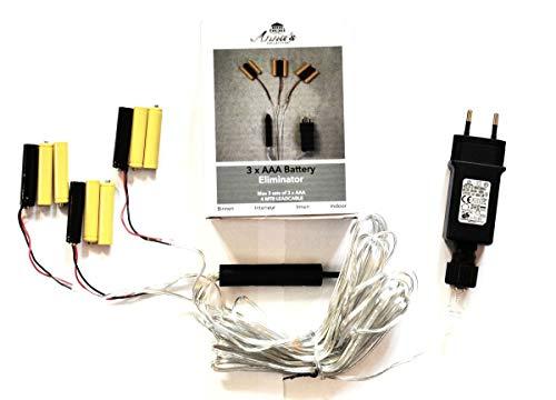 Coen Bakker Batterie Netzteil Adapter 3x3 AAA Micro Batterien 4,5V Wandler 4m Kabel Netzteil
