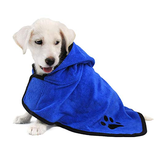 Albornoz para perros Suave súper absorbente, Albornoz de microfibra para mascotas Toalla de baño de secado rápido, para perros grandes, medianos y pequeños