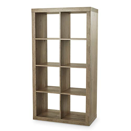 Better Homes and Gardens Furniture 8-Cube Room Organizer Storage Divider/Bookcase (White) (Rustic Gray)