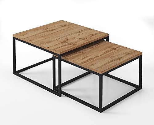 LUK Furniture Kaffeetisch Yoshi 2in1 - Eiche Couchtisch Salon Wohnzimmer (schwarz, Wotan Eiche)