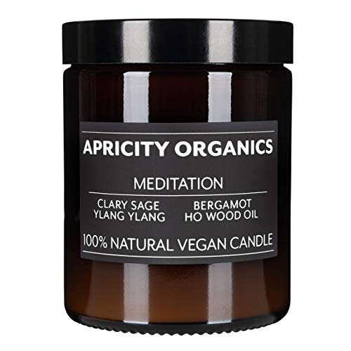 Apricity Organics Meditation, Natural & Non-Toxic Candle - Vegan Wax, Infused with Pure Essential Oils (Ho Wood oil, Ylang Ylang,Bergamot and Clary Sage)