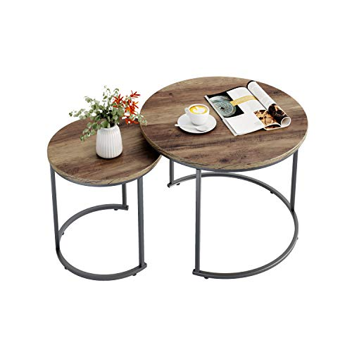 Homfa Round Nesting Tables Set of 2 Coffee Tables End Table Industrial Side Table Bedside Tables for Living Room Bedroom
