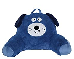 cute blue dog cartoon back support reading pillow with arms for kids