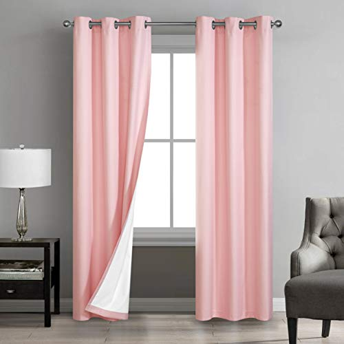 """Sunclipse Foley Solid Darkening Grommet Window Curtain Drapes for Bedroom/Living Room/Kitchen/Bathroom, Light and Noise Reducing Thermal Insulated (2 Panels, Each 42"""" W x 63"""", or 84"""" L), 42x84, Blush"""